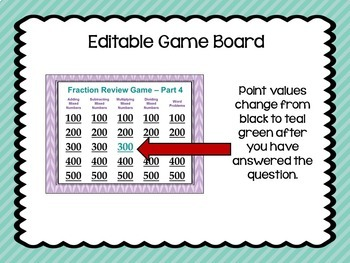 Fraction Review Game 4 Similar to Jeopardy