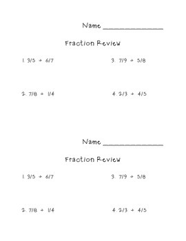 Fraction Review Half Sheet