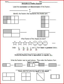 Fraction Review Homework Sheets and Assessment Bundle by ...