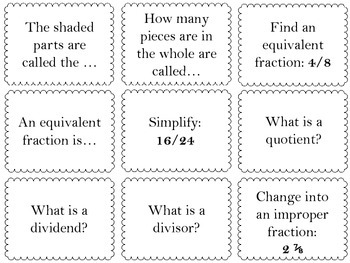 Fraction Review Matching Game