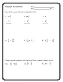 Fraction Review: Mixed Operations, equations, word problems