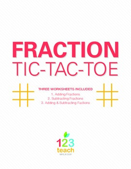 Adding and Subtracting Fractions Review Activity - Partner Tic Tac Toe
