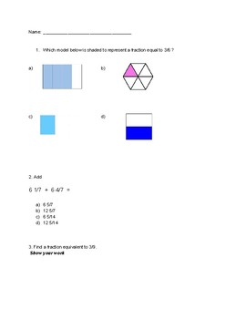 Fraction Review Practice Assessment