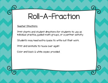 Fraction Review: Roll-A-Fraction Review Activity