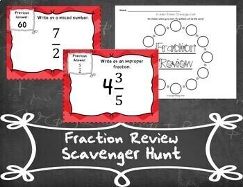Fraction Review Scavenger Hunt