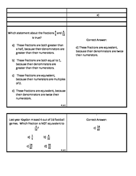 Fraction Review:  Stand Up, Hands Up, Pair Up (24 Question Cards with Answers)