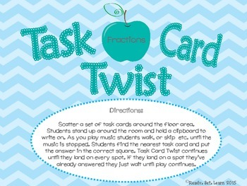 Fraction Review Task Card Twist