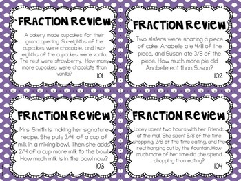 Fraction Review Task Cards | Reviews 3rd and 4th Grade Skills