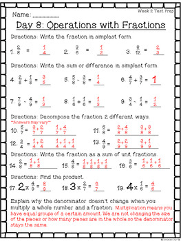 Fraction Test Prep Worksheets ~ 4th Grade Math ~ CCSS
