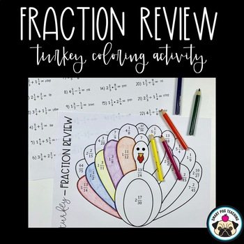 Fraction Review - Thanksgiving Themed Coloring Activity