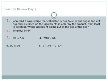 Fraction Review Warm-ups