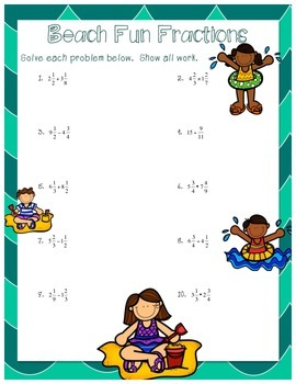 Fraction Review Worksheets - Mixed Operations (Summer Themed)