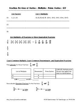 Fraction Review of Factors, Multiples, Prime Factors, GCF