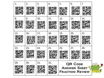 Fraction Review w/QR Codes 5th Grade