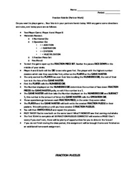 Algebra - Fraction Rolette Activity