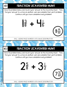 Fraction Scavenger Hunt Set 2: Adding Mixed Numbers with Unlike Denominators