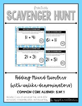 Fraction Scavenger Hunt Set 2: Adding Mixed Numbers with Unlike Denominators