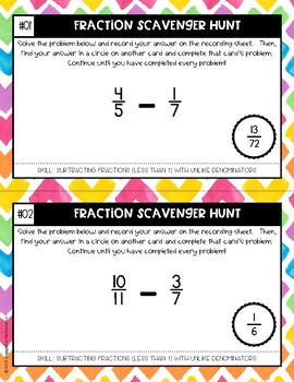 Fraction Scavenger Hunt Set 3: Subtracting Fractions with Unlike Denominators
