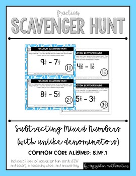 Fraction Scavenger Hunt Set 4: Subtracting Mixed Numbers (