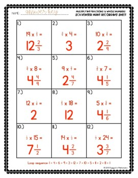 Fraction Scavenger Hunt Set 6: Multiplying Fractions and Whole Numbers