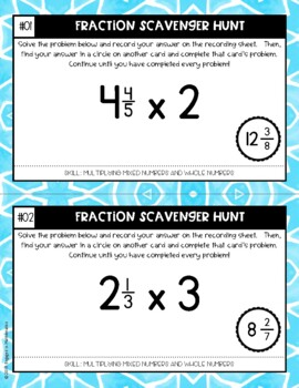 Fraction Scavenger Hunt #7: Multiplying Mixed and Whole Numbers