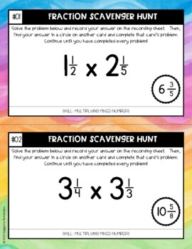Fraction Scavenger Hunt Set 8: Multiplying Mixed Numbers