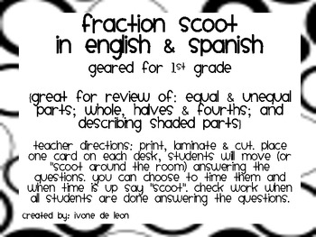 Fraction Scoot {in English & Spanish}
