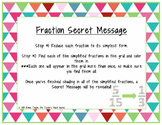 Fraction Secret Message (Reducing Fractions to Simplest Fo