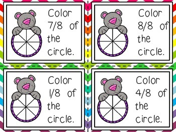 Fraction Shading Activity (Shade is 1/3 of Circle) Task Cards
