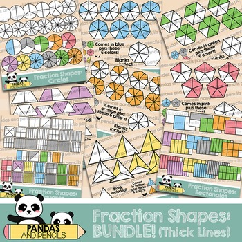 Fraction Shapes ClipArt: BUNDLE! Circles/Squares/Rectangles & more *THICK LINES*