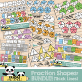 Fraction Shapes Clip Art: BUNDLE Circles/Squares/Rectangles & more *THICK LINES*