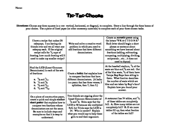 Fraction Skills Tic-Tac-Choose (Tic-tac-toe)