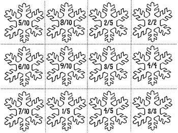 Fraction Snowflakes Cards with Standard