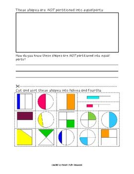 Fraction Sort Cut-N-Paste {Halves, Fourths, Unequally Partitioned}