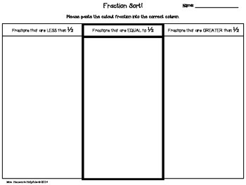 Fraction Sort Freebie