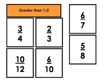 Fraction Sort - Greater than, Less than, Equal to 1/2