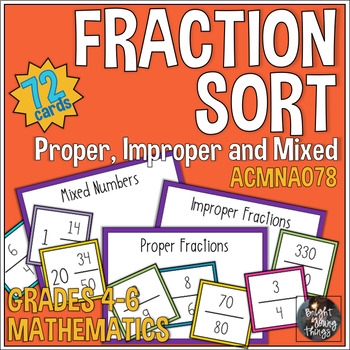 Fraction Sort - Proper, Improper and Mixed Numbers