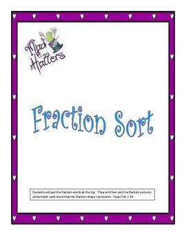 Fraction Sort Texas TEKS  2.3A 2nd grade