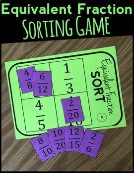 Fraction Sorting Game: Equivalent Fractions, Includes 8 Versions!