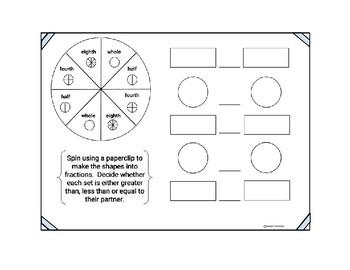 Fraction Spinner Comparison Game