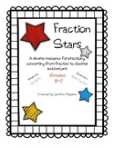 SCOOT or Math Center - Converting fractions to decimals & percent