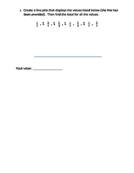 Fraction Station Review with Line Plots, Addition, Subtraction, Estimation