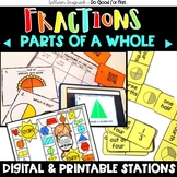 Fraction Stations - Parts of a Whole (Halves & Fourths) - QR Code Hunt included!