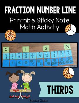 Fraction Sticky Note Activity {Thirds}
