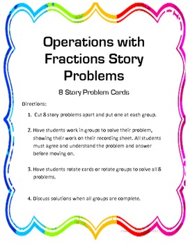 Fraction Story Problem Stations