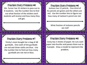 Fraction Story Problem Task Cards