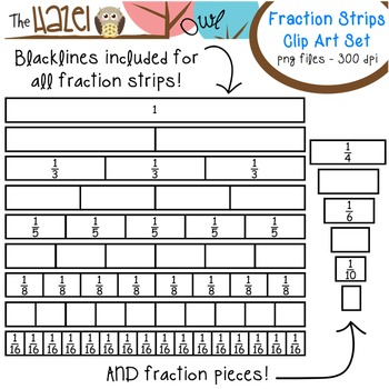 Fraction Strips & Pieces Set: Clip Art Graphics for Teachers