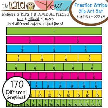 Fraction Strips & Pieces Set: Clip Art Graphics for Teachers