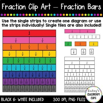 Fraction Clip Art -  Fraction Bars & Tiles!  Color and Black & White Included!