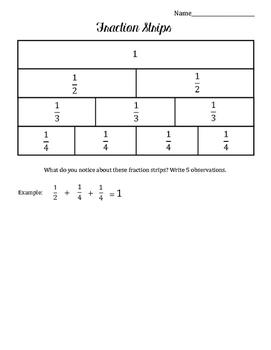 fraction strips worksheet by kirstin greig  teachers pay teachers